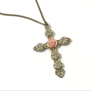 Gold Pink Rose Pearl Rhinestone Cross Necklace